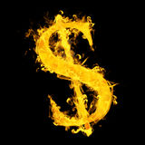Composite image of american dollar on fire. American dollar on fire  against black Stock Photo