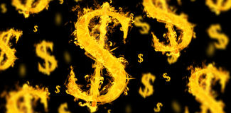 Composite image of american dollar on fire. American dollar on fire  against black Stock Photos