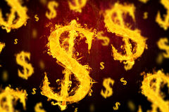 Composite image of american dollar on fire. American dollar on fire  against dark background Royalty Free Stock Photo