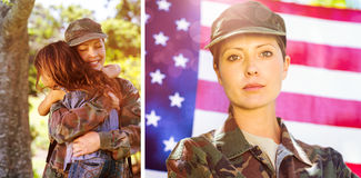 Composite image of american soldier reunited with his son and daughter Stock Image