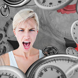 Composite image of angry blonde woman screaming. Angry blonde woman screaming  against grey background Stock Images