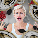 Composite image of angry blonde yelling with hands up Royalty Free Stock Photography