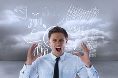 Composite image of angry businessman shouting Stock Photo