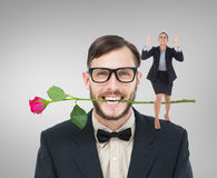 Composite image of angry businesswoman gesturing Stock Photos