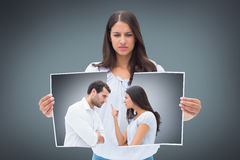 Composite image of angry couple facing off during argument Royalty Free Stock Image