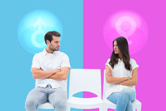Composite image of angry couple not talking after argument stock photos