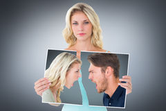 Composite image of angry couple shouting during argument Royalty Free Stock Image
