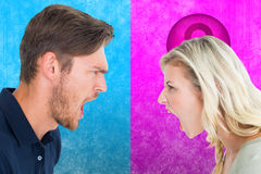 Composite image of angry couple shouting during argument Stock Image