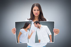 Composite image of angry couple shouting at each other Royalty Free Stock Images