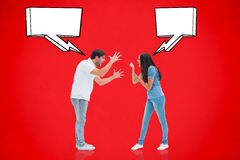 Composite image of angry couple shouting at each other Royalty Free Stock Image