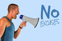 Composite image of angry male trainer yelling through megaphone Royalty Free Stock Photo