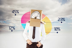 Composite image of anonymous businessman with hands in waistband. Anonymous businessman with hands in waistband against pie chart in sky Stock Photography