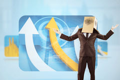Composite image of anonymous businessman holding his hands out Royalty Free Stock Images