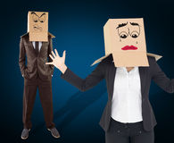 Composite image of anonymous businesswoman with her hands up Royalty Free Stock Photos