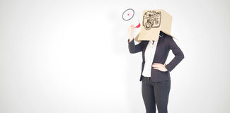 Composite image of anonymous businesswoman holding a megaphone Royalty Free Stock Photo