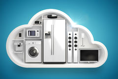 Composite image of appliance in cloud shape 3d. Appliance in cloud shape against blue vignette background 3d Royalty Free Stock Photography