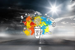 Composite image of application icons on paint splashes Royalty Free Stock Images
