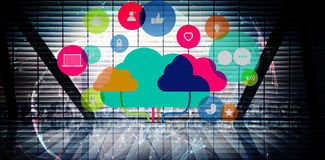 Composite image of apps and cloud computing concept. Apps and cloud computing concept against global technology background in blue Royalty Free Stock Photography
