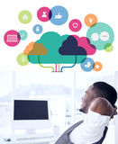 Composite image of apps and cloud computing concept Stock Images