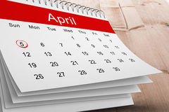 Composite image of april calendar Royalty Free Stock Photo