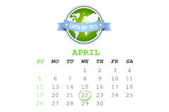 Composite image of april calendar. April calendar against earth day 2015 Royalty Free Stock Image