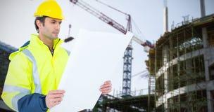 Composite image of architect analyzing blueprint over white background Stock Images
