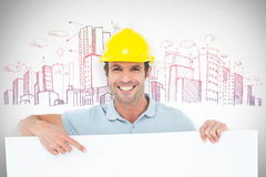 Composite image of architect with bill board over white background Stock Image