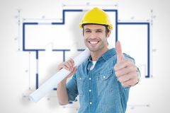 Composite image of architect holding blueprint while gesturing thumbs up. Architect holding blueprint while gesturing thumbs up against blueprint Stock Photography