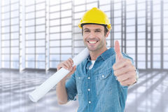 Composite image of architect holding blueprint while gesturing thumbs up. Architect holding blueprint while gesturing thumbs up against room with large window Royalty Free Stock Photos
