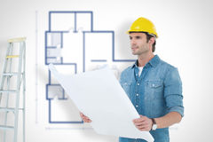 Composite image of architect holding blueprint in house. Architect holding blueprint in house against blueprint Royalty Free Stock Photography