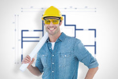 Composite image of architect holding rolled blueprint. Architect holding rolled blueprint against blueprint Stock Photography