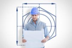 Composite image of architect reading blueprints Stock Images