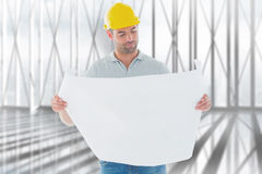 Composite image of architect reading plan Stock Photos