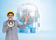 Composite image of architect shouting with a megaphone Stock Photography