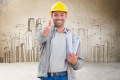 Composite image of architect showing thumbs up Royalty Free Stock Image