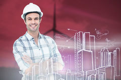 Composite image of architect standing arms crossed over white background Royalty Free Stock Image