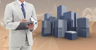 Composite image of Architect Torso against virtual buildings royalty free stock photo