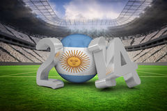 Composite image of argentina world cup 2014. Argentina world cup 2014 against vast football stadium with fans in white Royalty Free Stock Photos