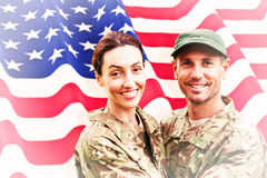 Composite image of army couple Stock Photos