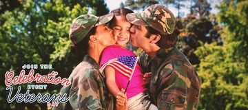 Composite image of army couple kissing daughter royalty free illustration