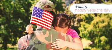 Composite image of army man hugging daughter with american flag. Army men hugging daughter with American flag against logo for veterans day in america hashtag Stock Image