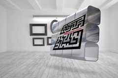 Composite image of arrow going through maze on abstract screen Royalty Free Stock Images