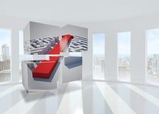 Composite image of arrow through maze on abstract screen Stock Photography