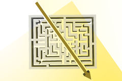 Composite image of arrow through maze. Arrow through maze against squares as a background Royalty Free Stock Image