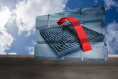 Composite image of arrow over maze on abstract screen Royalty Free Stock Image