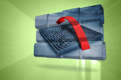 Composite image of arrow over maze on abstract screen Royalty Free Stock Photos
