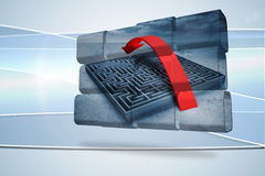 Composite image of arrow over maze on abstract screen Stock Image