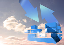 Composite image of arrow in sky on abstract screen royalty illustrazione gratis
