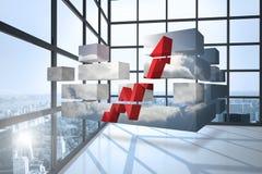 Composite image of arrow in sky on abstract screen illustrazione di stock