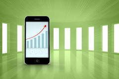 Composite image of arrows and barchart on smartphone screen Royalty Free Stock Photography